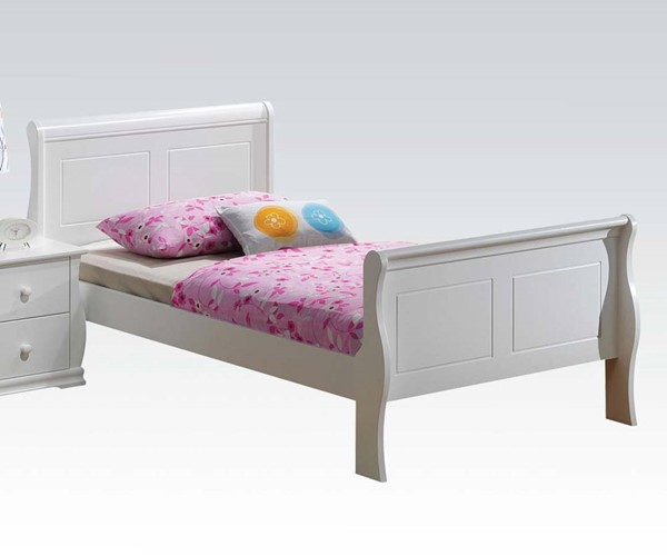 Nebo Youth White Wood Kids Sleigh Beds ACM-30085-BED-VAR