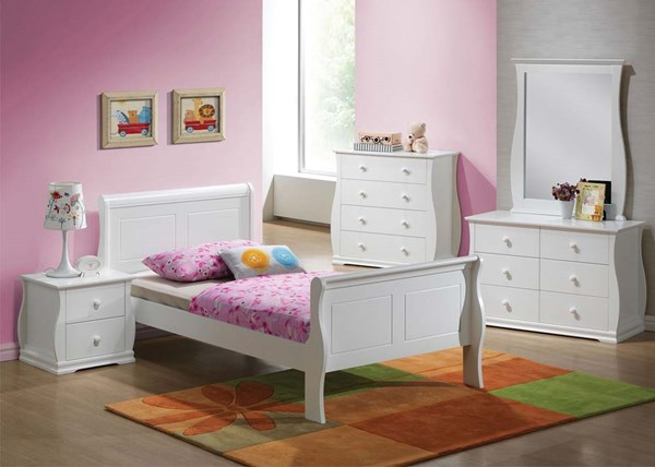 Nebo White Wood 2pc Bedroom Set W/Twin Bed ACM-30085-S1