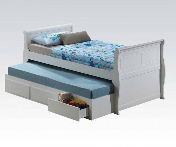 Nebo Youth White Wood Twin Bed w/Trundle & Drawers ACM-30095T