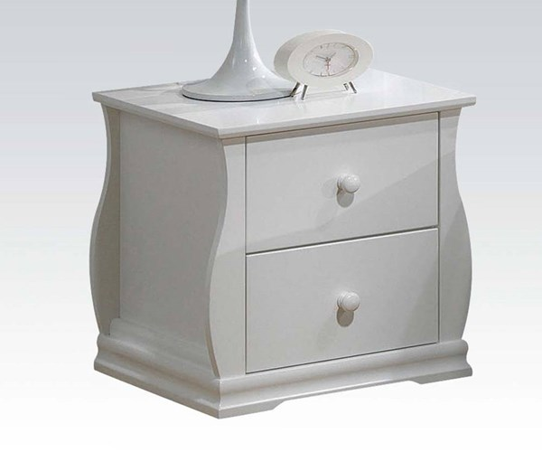 Nebo Youth White Wood 2 Drawers Nightstand ACM-30104