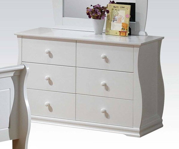 Nebo Youth White Wood 6 Drawers Dresser w/Side Metal Glide ACM-30106