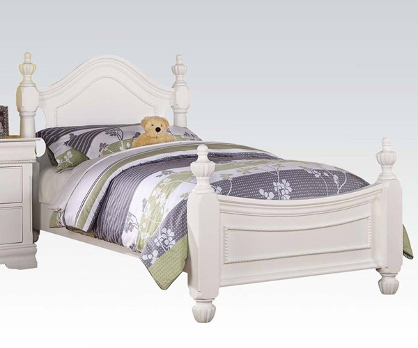 Classique Youth White Wood Twin Bed W/Headboard Footboard & Rails ACM-30125T