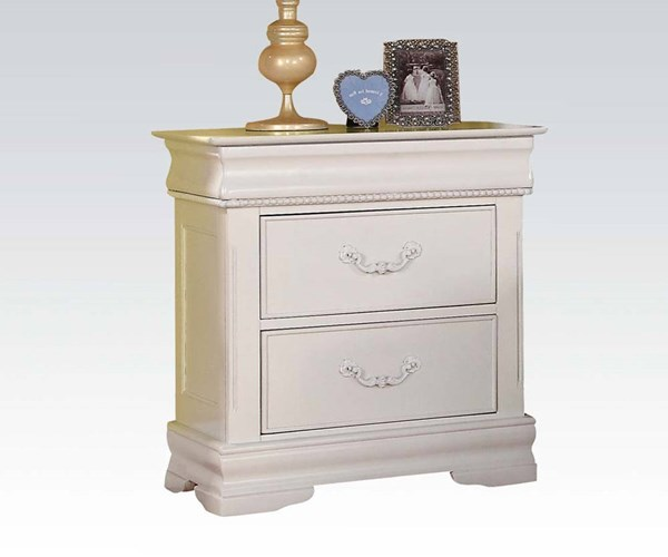 Classique White Wood Nightstand w/Hidden Drawer ACM-30129