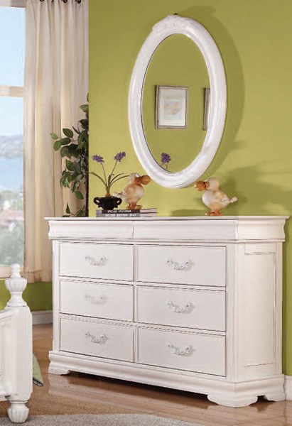 Classique Youth White Wood Glass Double Dresser And Oval Mirror ACM-30130-31