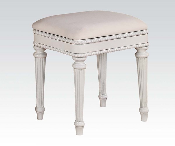 Classique Youth White Wood Armless & Backless Bench ACM-30136