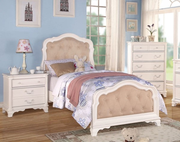 Ira Youth White PU Tufted Wood Sleigh Beds ACM-30145-BED-VAR