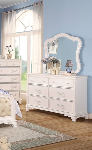 Ira Youth White Wood Glass Dresser And Mirror ACM-30149-50