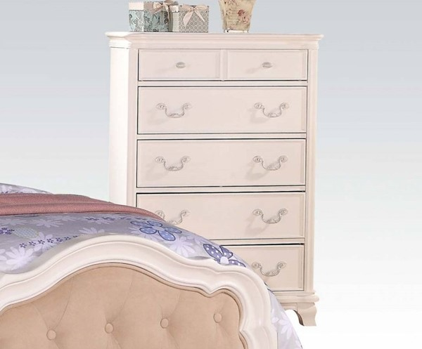Ira Youth White Wood Muiltiple Drawers Chest ACM-30151