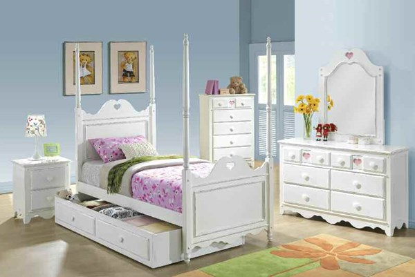 Sweetheart Country White Wood 2pc Bedroom Sets W/Full Bed ACM-30165-S1