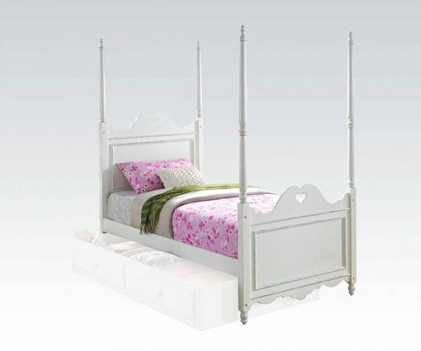 Sweetheart Country White Wood Poster Twin Bed ACM-30170T