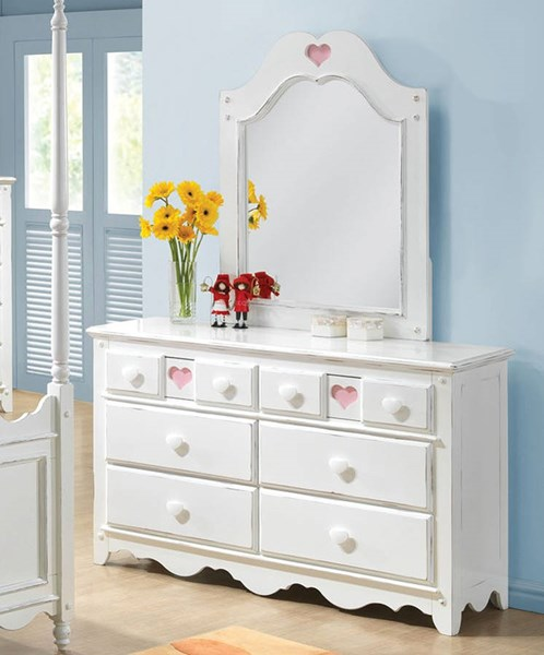 Sweetheart Country White Wood Glass Dresser And Mirror ACM-30176-DM