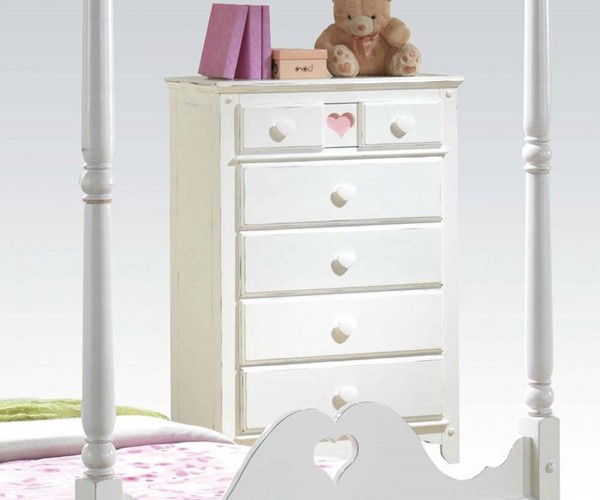 Sweetheart Country White Wood 5 Drawers Chest ACM-30178