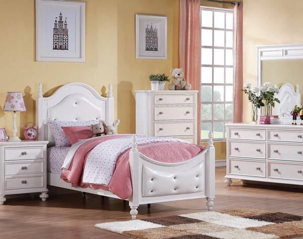 Athena White Wood 2pc Master Bedroom W/ Full Bed ACM-30200-S2