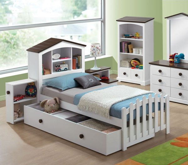 Docila Youth White Chocolate Wood Twin Bed W/Trundle / Drawer ACM-30220-TB