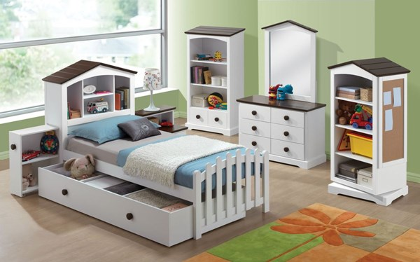 Docila Youth White Chocolate Wood Full Bed W/Trundle / Drawer ACM-30215-FB