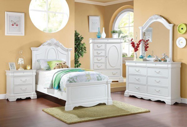 Estrella Elegant White Wood 2pc Bedroom Sets ACM-30235-BR-VAR