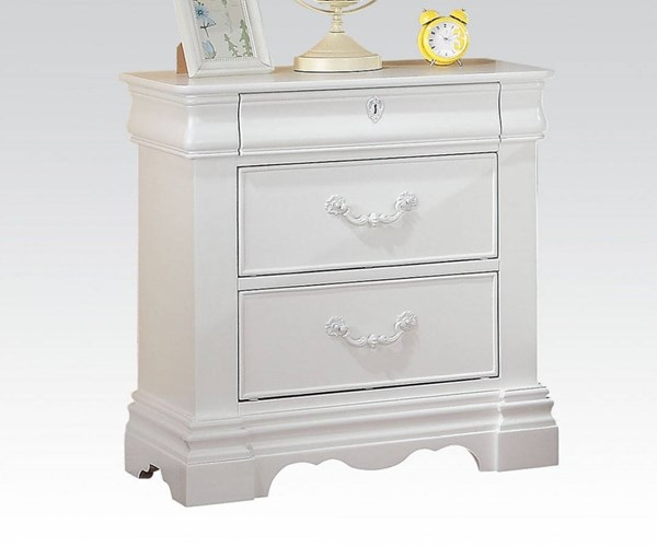Estrella Elegant White Wood 3 Drawers Nightstand w/Center Metal Glide ACM-30243