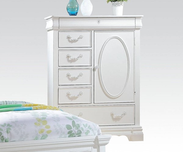 Estrella Elegant White Wood Chest w/6 Drawers & 2 Shelves ACM-30246