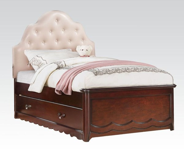 Cecilie Youth Cherry Pink Wood Full Bed W/PU Headboard & Trundle ACM-30265F-TRN-BED