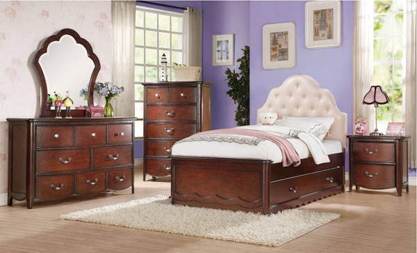 Acme Furniture Cecilie Cherry 4pc Kids Bedroom Set with Full Bed ACM-302-303-KBR-S2