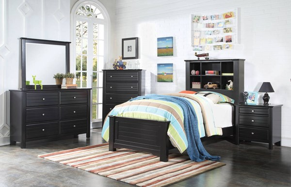Mallowsea Youth Black Wood 2pc Kids Bedroom Set W/Full Bed ACM-303-BR-S1