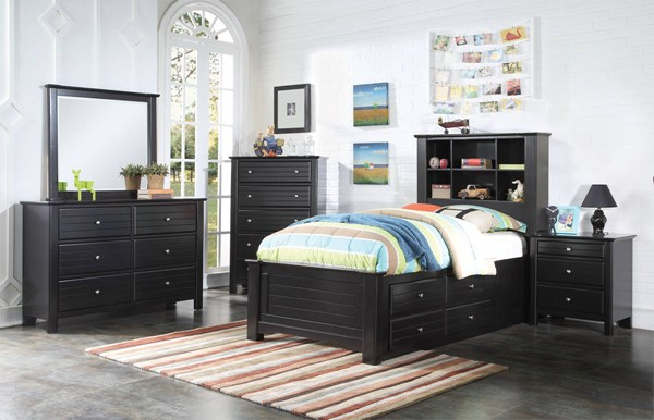 Mallowsea Youth Black Wood 2pc Kids Bedroom Set W/Full Storage Bed ACM-303-BR-S3