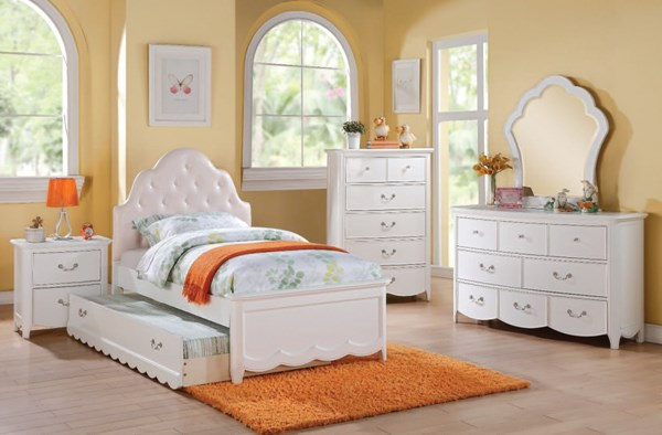 Cecilie Youth White Pink PU Wood 4pc Kids Bedroom Set W/Full Bed ACM-302-303-KBR-S6