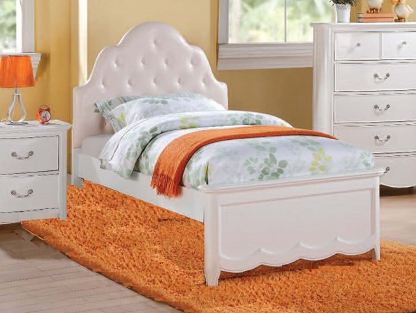 Cecilie Youth White Wood Twin Bed w/PU Headboard ACM-30300T