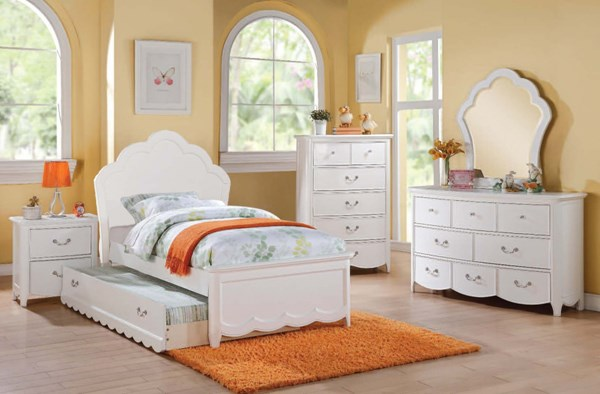 Cecilie Youth White Wood 4pc Kids Bedroom Set W/Twin Bed ACM-302-303-KBR-S7