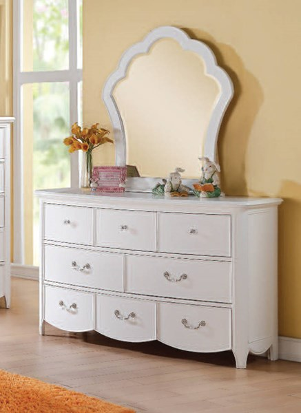 Cecilie Youth White Wood Glass Dresser & Mirror ACM-30324-25-DRMR