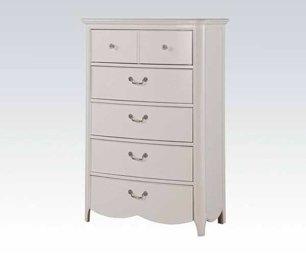 Cecilie Youth White Wood 6 Drawers Chest ACM-30326