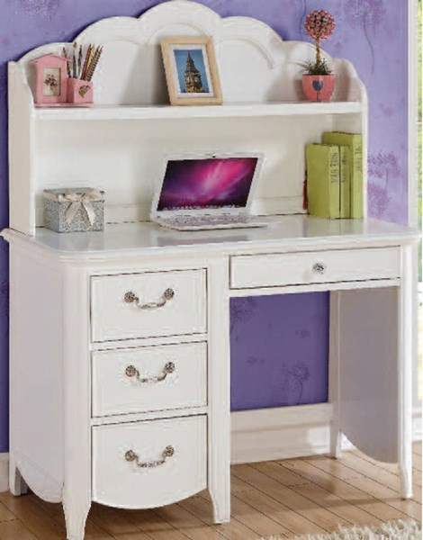 Cecilie Youth White Wood Computer Desk W/Hutch ACM-30327-28