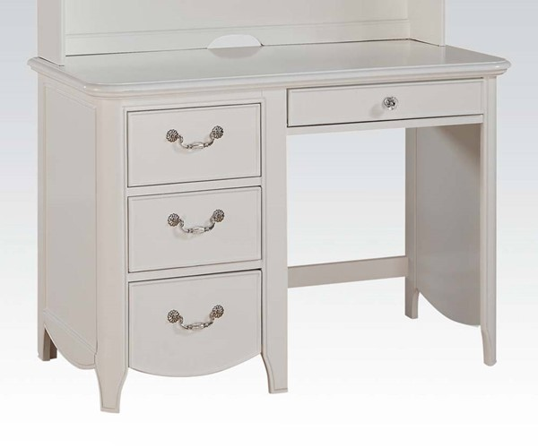 Cecilie Youth White Wood 3 Drawers Computer Desk w/Keyboard Tray ACM-30327