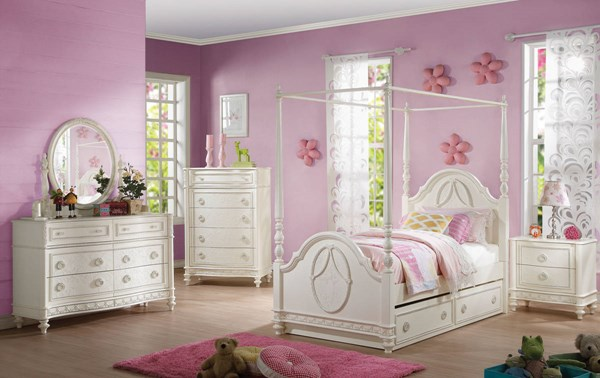 Dorothy Elegant Ivory Wood 2pc Bedroom Set W/Poster Twin Canopy Bed ACM-30335-BR-S4