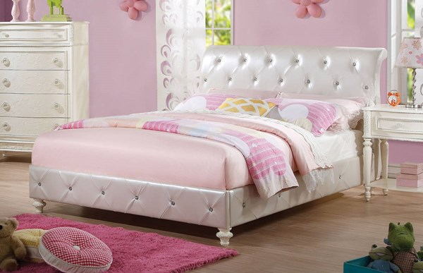 Dorothy Elegant Pearl White Ivory PU Wood Padded Twin Bed ACM-30340T