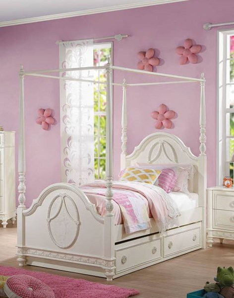 Acme Furniture Dorothy Ivory Poster Beds with Canopy ACM-30355-358-BEDS-VAR