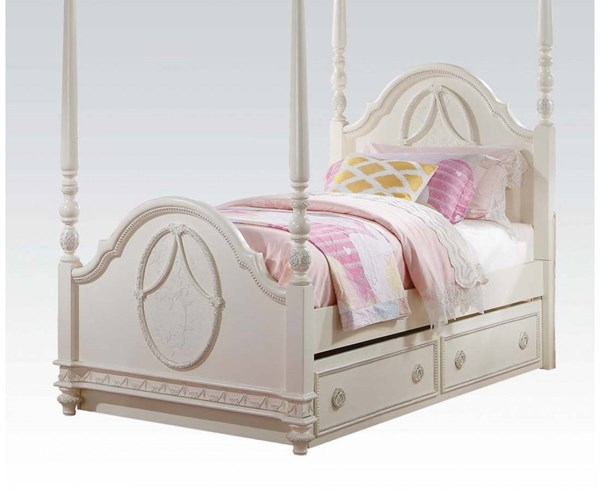 Dorothy Elegant Ivory Wood Poster Twin Bed ACM-30360T