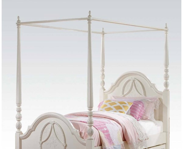 Dorothy Elegant Ivory Wood Optional Full Bed Canopy ACM-30358