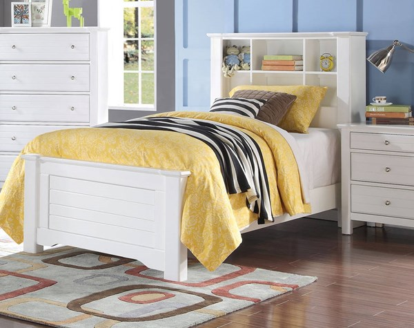 Mallowsea Youth White Wood Twin Bed w/Low Profile Footboard ACM-30410T