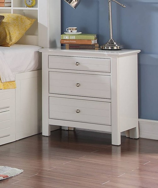 Mallowsea Youth White Wood 3 Drawers Nightstand ACM-30423