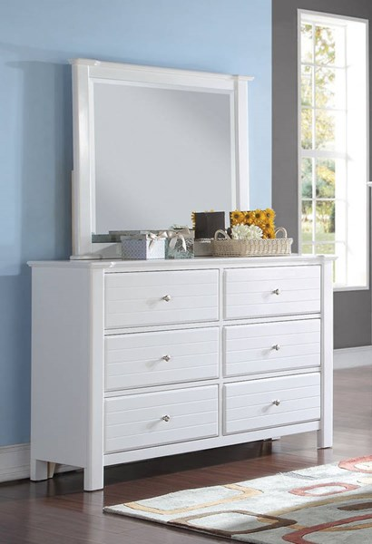Mallowsea Youth White Wood Beveled Glass Dresser & Mirror ACM-3042-DRMR