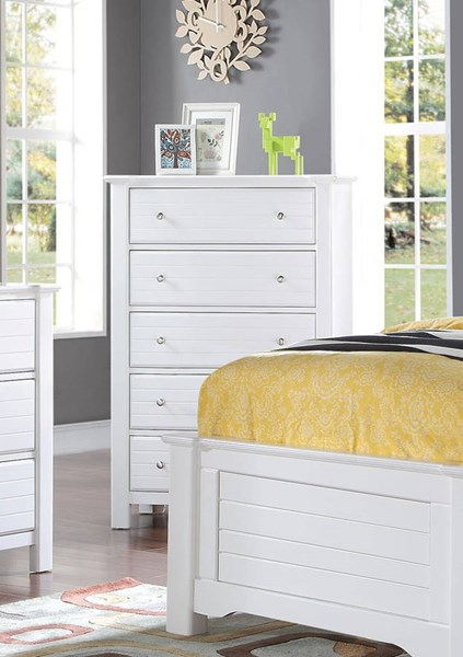 Mallowsea Youth White Wood 5 Drawers Chest ACM-30426