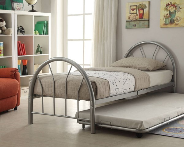 Silhouette Silver Metal Twin Bed ( L 79 X W 39 X H 33 ) ACM-30450T-SI