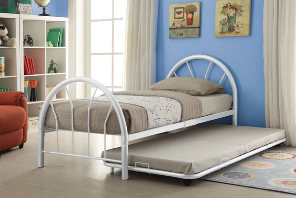 Cailyn White Metal Twin Bed W/Trundle & Casters ACM-30460-63WH