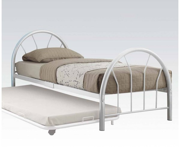 Silhouette White Metal Twin Bed ( L 79 X W 39 X H 33 ) ACM-30450T-WH