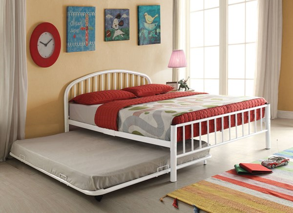 Cailyn White Metal Full Bed W/Trundle & Casters ACM-30465-68WH