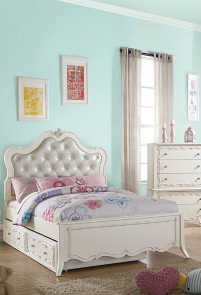 Acme Furniture Edalene Pearl White Trundle Beds ACM-3050-TRUNDLE-BEDS