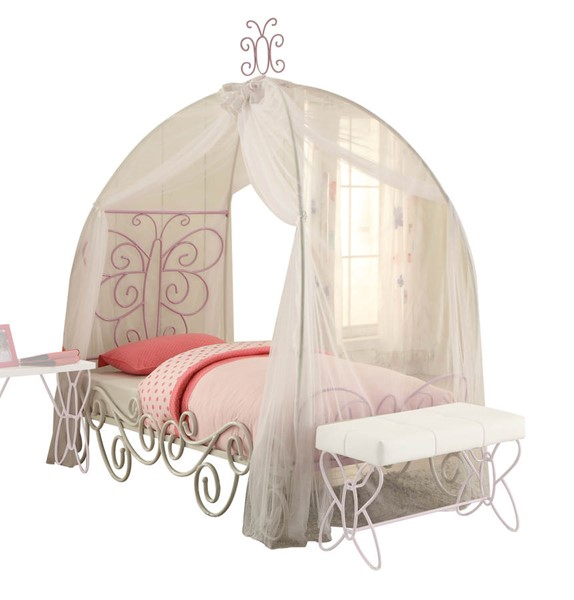 Acme Furniture Priya II White Light Purple Full Canopy Bed ACM-30535F
