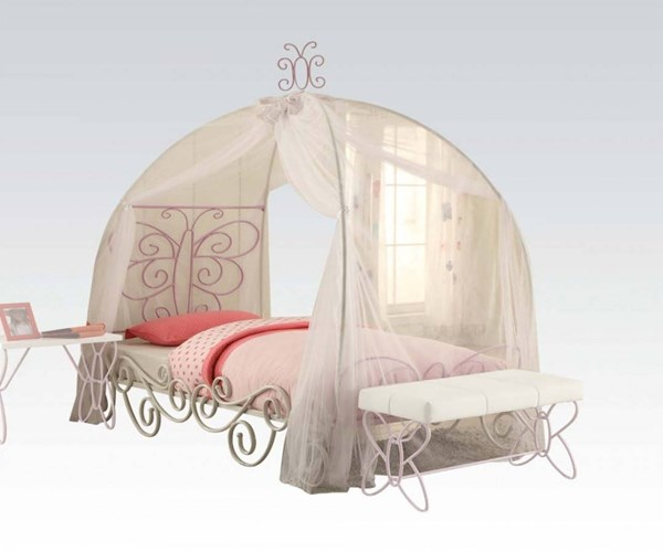 Priya II White Light Purple Metal Canopy Beds ACM-3053-KBEDS
