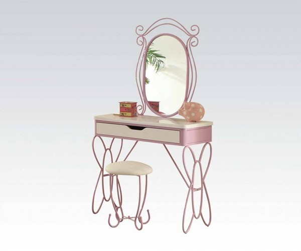 Priya II White Light Purple MDF Metal PU Vanity Set ACM-30539